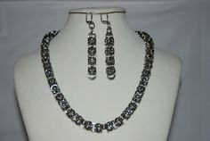 $70.00  -  Chainmaille Byzantine Stainless Steel Necklace and Dangle Earrings - Chainmaille - FREE SHIPPING