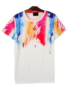 The tee featuring splash-ink print. Summer Prints, T Shirt Vest, Fashion Outfits, Womens Fashion, Fashion Clothes, Street Chic, Summer Collection, Short Sleeve Tee, Clothes For Women