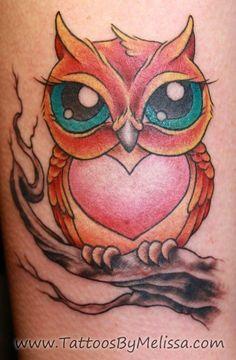 Colorful Cartoon Owl Tattoo images