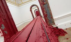Anish Kapoor's new exhibition covers the Royal Academy in poured, flung and spattered crimson paint – and mysterious worm-cast mountains. Anish Kapoor is at the Royal Academy of Arts from 26 September to 11 December Sculpture Art, Sculptures, Anish Kapoor, Train Art, Royal Academy Of Arts, Red Art, New Shows, Installation Art, Art Installations