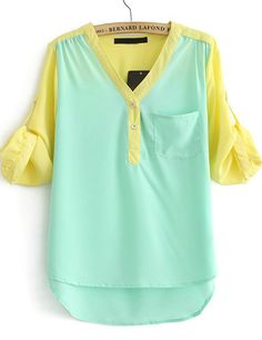 Green V Neck Contrast Long Sleeve Chiffon Blouse 14.76