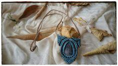 Www.narkismacrame.etsy.com  #macrame #necklace #blue #brown #pendant #gray #agate #gemstone #handmade #jewelry