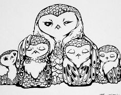 Owls Black & White Drawing Original Artwork  by theAtlanticOcean, $38.00