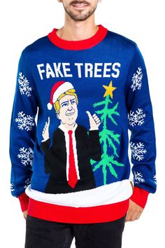 dbb9690cb88e3d Men s Fake Trees Ugly Christmas Sweater Trump Christmas
