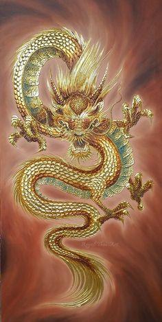 Shop handmade acrylic gold leaf paintings, Dragon canvas art, Chinese dragon painting, Japanese Dragon artwork by Thai artists. Dragon Tattoo Art, Dragon Sleeve Tattoos, Japanese Dragon Tattoos, Japanese Tattoo Art, Dragon Artwork, Dragon Tattoo Designs, Snake Painting, Egypt Tattoo, Thailand Art