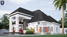 If you love spaciousness and modern living, here is a contemporary 5 bedroom plan that an established family will find an excel. Modern Bungalow House Design, Duplex House Design, Bungalow Designs, Roof Design, Plan Design, Bungalow Floor Plans, Beautiful House Plans, Architecture Design, House Styles