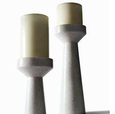 Stone Candle Holder Short, colección Eclectic diseño de TomDixon en mármol.