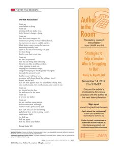 Great Poem from JAMA Oct 2012 -- this will be meaningful for anyone doing inpatient palliative care