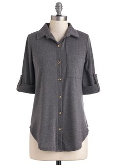 Keep it Casual-Cool Top in Charcoal. Exude effortless allure in this classic-yet-contemporary grey top! #grey #modcloth