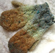 Cozy Hand Knit Mittens in a Soft Flecked Wool made by jackied by jackiedknits, via Flickr