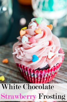 White Chocolate Strawberry Buttercream recipe - A delicious buttercream frosting recipe. This white chocolate frosting uses real strawberries and is the perfect topping for chocolate chai cupcakes (or any cake really). | The Bewitchin' Kitchen