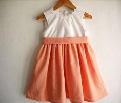 Peach/Coral Flower Girl Dress/ Girl Summer Dress/ by ANKOdesign, $58.00