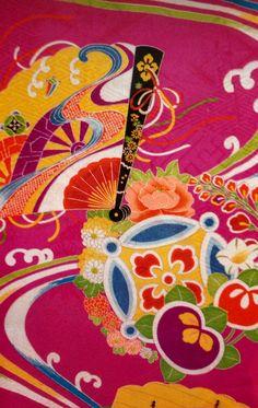 vintage kimono Japanese fabric 1988