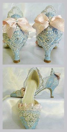 Lovely light blue shoes with embroidery and pale pink satin ribbons. ♡♥