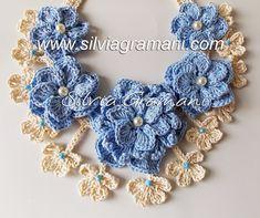 Silvia Gramani Crochê: Colar com Flores de Crochê - Colar Athena