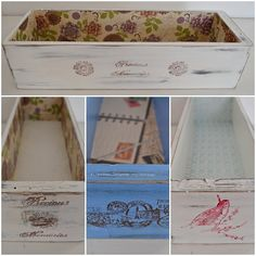 De cajoncitos y sellos: Vero Palazzo - Home Deco Sewing Machine Drawers, Decoupage Vintage, Collage, Repurposed Furniture, Chalk Paint, Stencils, Recycling, Decorative Boxes, Shabby Chic