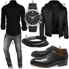 Schwarzes Business-Outfit mit grauer A. Salvarini Jeans (m0968) #MensFashionMenswear #mensjeans2017