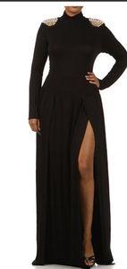 Double Split Maxi Dress with Studded Shoulders - Plus Size