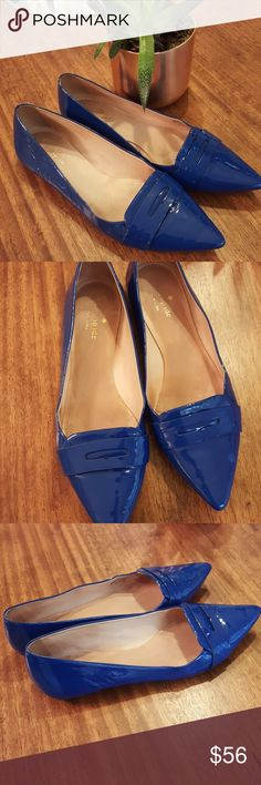 Kate Spade Blue Patent Flats Pointed toe penny loafer style Kate Spade New York size 8 and 1/2 medium soles are a little worn but shoe is in great shape has a lot of life left Kate Spade Shoes Flats & Loafers