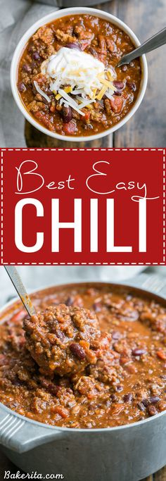 This recipe for My Best Chili is a major favorite around here! It's a hearty… This recipe for My Best Chili is a major favorite around here! It's a hearty, warming chili made with ground beef, bacon, sausage, and just the right amount of kick. Chilli Recipes, Crockpot Recipes, Soup Recipes, Dinner Recipes, Healthy Recipes, Slow Cooker Recipes, Chili Recipe Crockpot Best, Chili Recipe Stovetop, Best Mild Chili Recipe