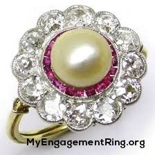 white and pink diamonds pearl engagement ring - My Engagement Ring