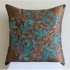 Luxury Brown Throw Pillow Covers 16x16 Silk by TheHomeCentric