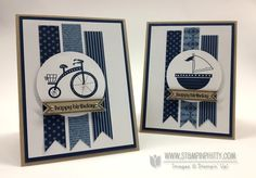 """Stamps: Moving Forward, Itty Bitty Banners   Paper: 2012-2014 In Color Designer Series Paper Stack, Midnight Muse, Crumb Cake, Whisper White   Ink: Midnight Muse   Accessories: Stampin' Dimensionals, Stampin' Up! 1/8"""" Silver Mini Brads"""