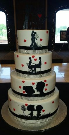 Calumet Bakery Silhouette Wedding Cake