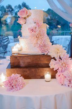 Pink rose and dahlia wedding cake