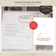 Project Life Journaling Card template