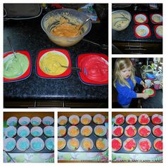 How to make rainbow cupcakes - http://yummymummyflabbytummy.blogspot.co.uk/2013/02/how-to-make-rainbow-cupcakes.html
