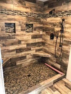 Florida Tile Home Collection Wind River Beige 6 in. x 24 in. Porcelain Floor and Wall Tile sq. / - The Home Depot Rustic Bathroom Shower, Rustic Master Bathroom, Rustic Bathroom Designs, Bathroom Interior Design, Wood Tile Shower, Stone Bathroom, Small Rustic Bathrooms, Bathroom Ideas, Lodge Bathroom
