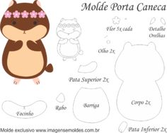 Molde Porta Caneca Hamster - Molde para Feltro - EVA e Artesanato, Molde Porta Caneca Hamster - Molde para EVA - Feltro e Artesanato, porta caneca Felt Animal Patterns, Mug Rug Patterns, Stuffed Animal Patterns, Craft Patterns, Felt Diy, Felt Crafts, Felt Keyring, Quiet Book Templates, Felt Coasters