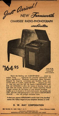 Just Arrived!  New Farnsworth Chairside Radio-Phonograph combination
