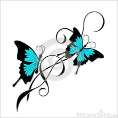 Butterfly tattoo black blue tribal