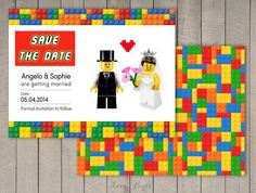 Wedding Invitation Lego  Save the Date  by SophiesLoveBirds