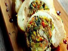 Pistachio-Bacon Turkey Roulade With Pomegranate Gastrique