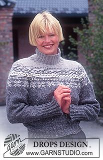 Fin mønsterbord. DROPS genser i Karisma Angora-Tweed med nordisk stjernemønster på skulder- og bærestykket ~ DROPS Design