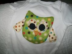 Owl Appliqued onesie by meemeesquilts on Etsy, $8.00