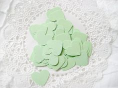50 MINT GREEN Hearts Die cuts punches cardstock 5/8 inch -Scrapbook, cards, embellishment, confetti