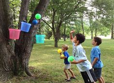 Let's Play Bucket Ball | Ziggity Zoom; challenge is to throw the balls into the right color bucket.  See article for details. (This is pretty much how basketball got started...)