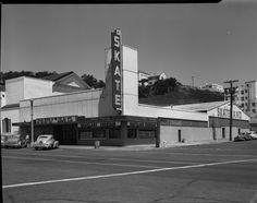 Skateland & Skateland Fountain at 690 Great Highway at Balboa Street. Billboard in the background advertises Doelger homes. August 24, 1950. San Francisco Playland-At-The-Beach: 20 Years Of History (PHOTOS)