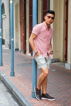 Seersucker shirt + chukka sneakers + khaki shorts