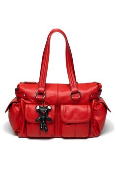 Mia Leather Diaper Bag Red - AED1,450 from Blush and Bloom www.blushandbloom.com/shop/accessories/diaper-bags/Mia-Leather-Diaper-Bag-Red/