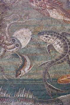 Marine Life Mosaic from House VIII Pompeii demonstrating the vermiculatum technique Roman 2nd century BCE by mharrsch, via Flickr: