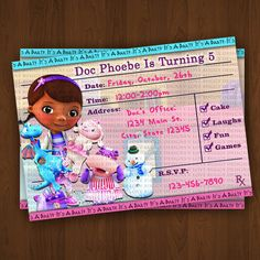 Doc Mcstuffins Invitations Doc Mcstuffins Prescription Style Invitation Printables