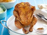 Beer Can Chicken Rub:  2 tablespoons smoked paprika  2 tablespoons salt  2 tablespoons onion powder  1 tablespoon cayenne pepper  1 tablespoon ground cumin  2 teaspoons dried thyme  2 teaspoons dried oregano  2 teaspoons black pepper  2 teaspoons garlic powder