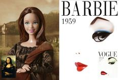 "Barbie as ""Mona Lisa"" by Da Vinci and Barbie in a Vogue Cover"