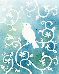 Bird and swirly vines painting with white wax(crayon) and water colors for the background