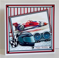 2 sheet mini kit with 3d step by step decoupage. Topper is approximately 7.5 inch or can be reduced in size for smaller cards.Suitable for birthdays or Fathers Day, particularly men or motor racing, Formula One fans or racing car drivers.